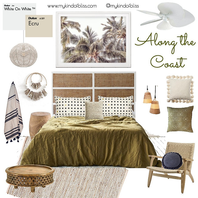 Australian Decor, my kind of bliss, boho bedroom, room styling, Australian Art, australian furniture, perth interior designer, tropical style, perth Interior Stylist, beach house
