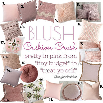 Blush Cushion Crush. Beautiful pink and blush cushions for all budgets