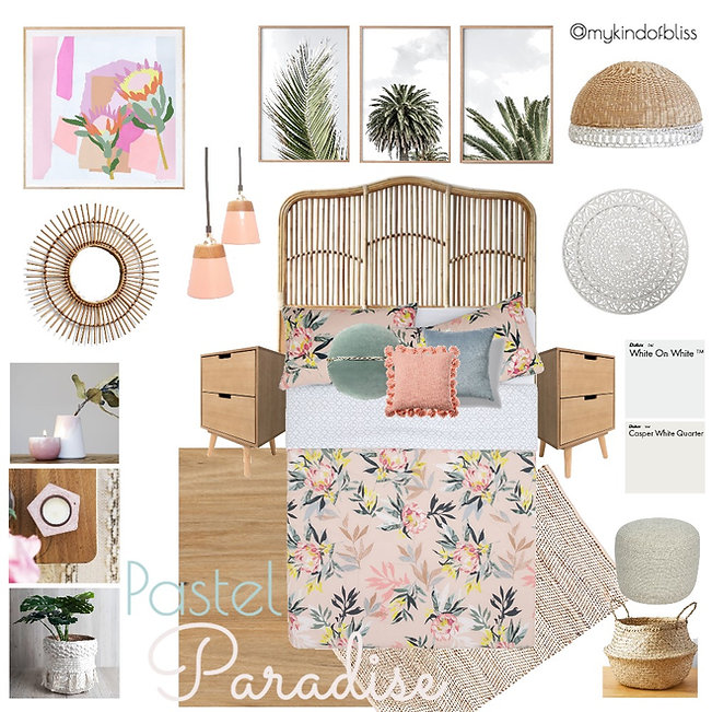 pastel paradise, my kind of bliss, pastel, pastel palette, boho style, hamptons, tassel, pom pom, cane furniture, bohemian, mood board, coastal decor, interior design, interior stylist, bedroom , australian designer, property stylist, bedroom inspo, palm print, coastal styling, protea, home decor, linen, white room, kas, zanui, homewares, cushions, rattan, room design, beach house, coastal home