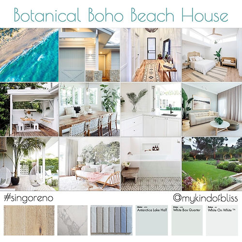 Coastal Style, Boho Style, Beach House, Mood Board, Hamptons Home, Dulux Paint, Byron Bay, Coastal Home, Coastal Mood Board, Boho Home, Boho Mood Board, Botanical Style, Home Reno, Home Renovations, Perth Reno, Australian Renovation