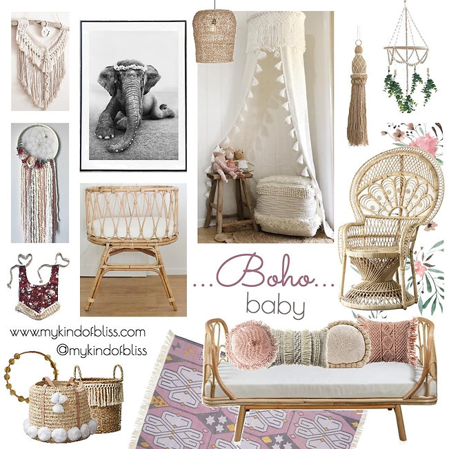 A beautiful abode for your bohemian princess.  Natural and eclectic decor makes this the perfect nursery for your boho baby.