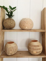 Carved Coconut Teal Light Covers