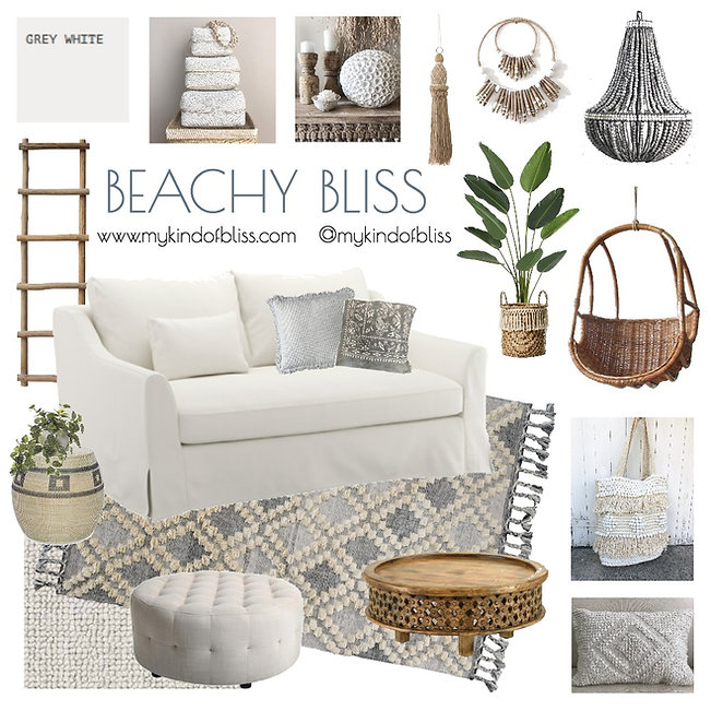 Create some beachy bliss in your own home so that you can enjoy it year round.   Fresh whites and calming blue tones make this the perfect place to relax and feel right at home.#beachhouse #hamptonshome #hamptonsstyle #moroccanrug #coastalliving #coastalhome #coastaldecor #bohemianhome #whiteroom #livingroominspo #byronbay #byronstyle