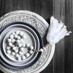 Clay Beads + Muslin Tassel