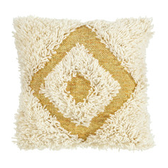 Diamond Shag Cushion- Gold