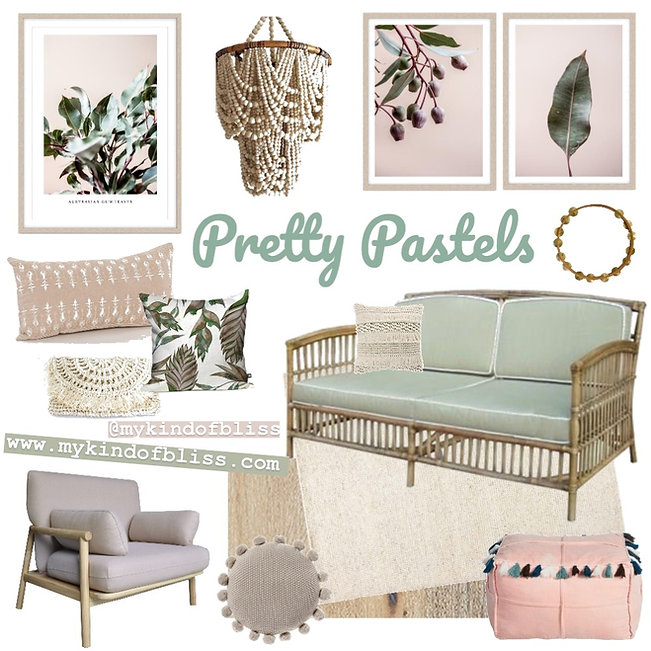 Recreate this soft and inviting living space at home with this beautiful pastel  inspired palette and decor. Bohemianand Australian touches make this the perfect  living room to feel relaxed and right at home. #blushcrush #pinkroom #pink #mint #blushdecor #girlsroom