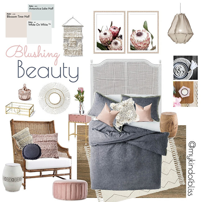 blushing beauty, my kind of bliss, boho style, hamptons, nordic, pom pom, cane furniture, bohemian, mood board, coastal decor, interior design, interior stylist, bedroom , australian designer, property stylist, living room inspo, styling, home decor, linen, white room, kmart, target, zanui, homewares, cushions,  room design, beach house, coastal home, protea, rattan furniture, pink, pastel palette