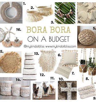 Bora Bora on a Budget. Tropical decor for under $50.00 each! #resortstyle #villastyle #bohostyle #bohemianstyle #bohodecor