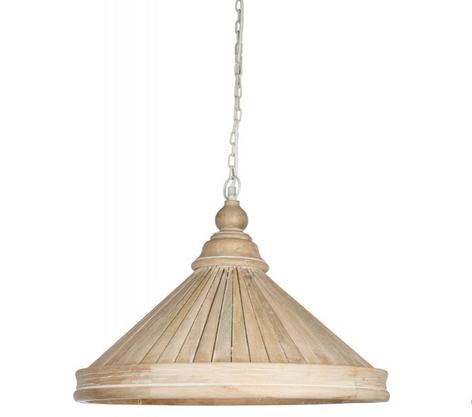 Paneled Mango Wood Pendant Light- Natural Color