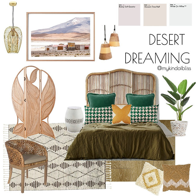 my kind of bliss, urban style, cactus silk, boho, bohemian, mood board, moroccan, decor, interior design, interior stylist, bedroom , australian designer, property stylist, bedroom inspo, tribal styling, home decor, cane furniture, hanging chair, homewares, cushions, rattan, south american style, rustic decor, earthy palette, seage x clare, desert dreaming