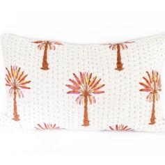 Peachy Palm Kantha Pillow Cover