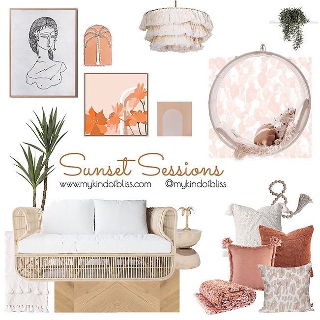 Sunset Sessions Living Room Design -Have a Summer Siesta at your home with these beautiful warm tones and soft natural furnishings.  #desertpalette #canefurniture #perthstylist #moodboard #naturalstyling