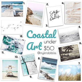 Coartal prints for under $50.00 each!