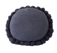 Ink Navy Soleil Pom Pom Cushion