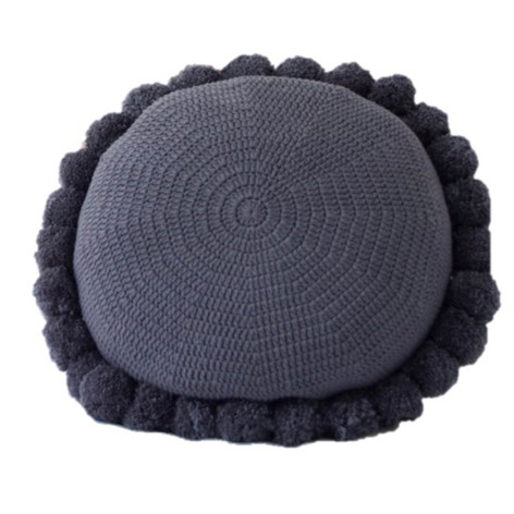Slate Grey Pom Pom Cushion