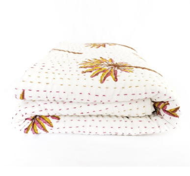 Peachy Palm Kantha Quilt