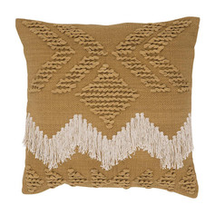 Fringe Cushion- Tan