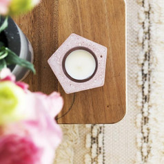 Pink Geometric Tealight Concrete