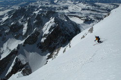 Skiing off the Summit of the Grand