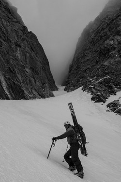 Couloir Skiing on Mount Moran