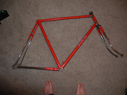 """new in - an F C Parkes 23"""" frame with beautiful chromework."""