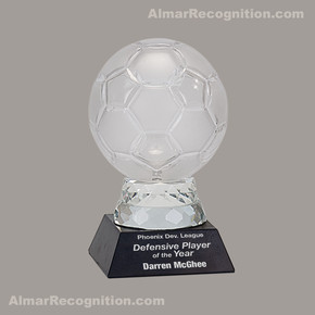 G155 Soccer Glass&Marble Trophy
