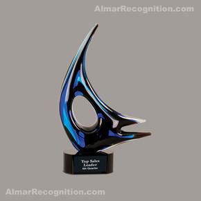 A118 Blue Sails Art Glass