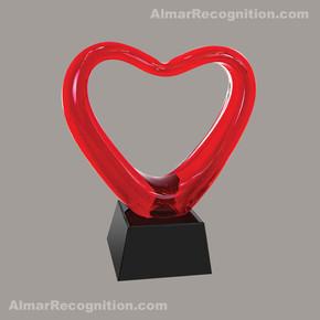 A133 Red Loving Heart Art Glass Award.jp