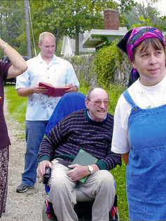In wheelchair~Member Dan Cissna ~gone on to be with the Lord
