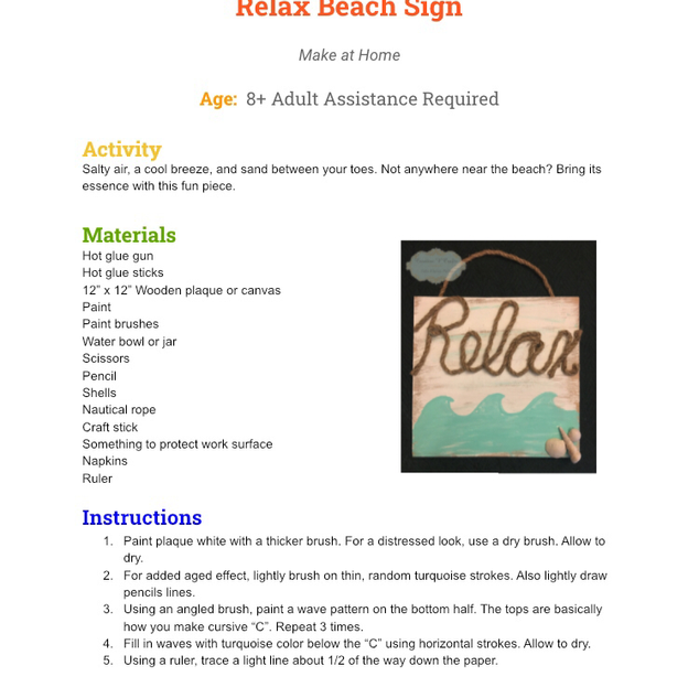 Relax Beach Sign Page 1