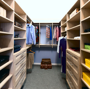 Walk-In Closet with Shelves and Drawers