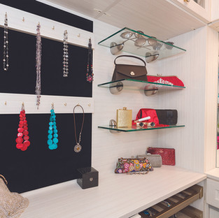 Velvet-Lined Jewelry Wallboard and Open Glass Shelves