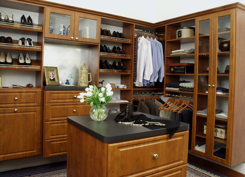 Walk-in closet for professional man and woman