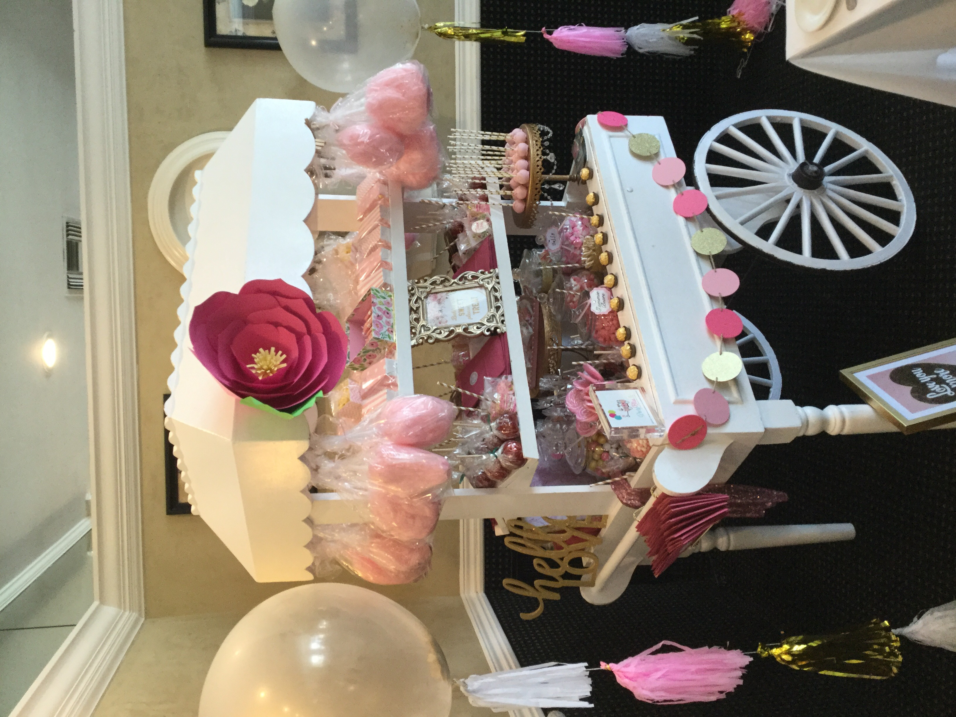 PINK AND GOLD CANDY CART