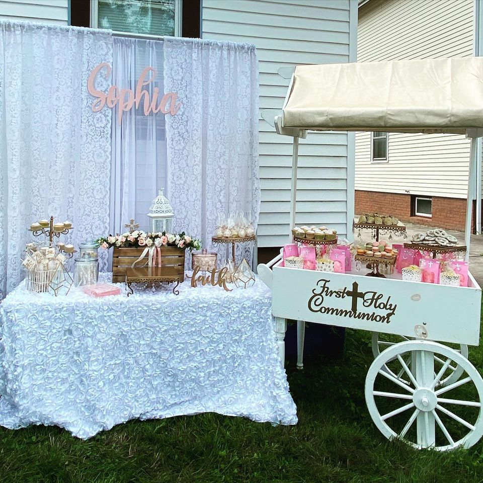 COMMUNION DESSERT TABLE AND CART