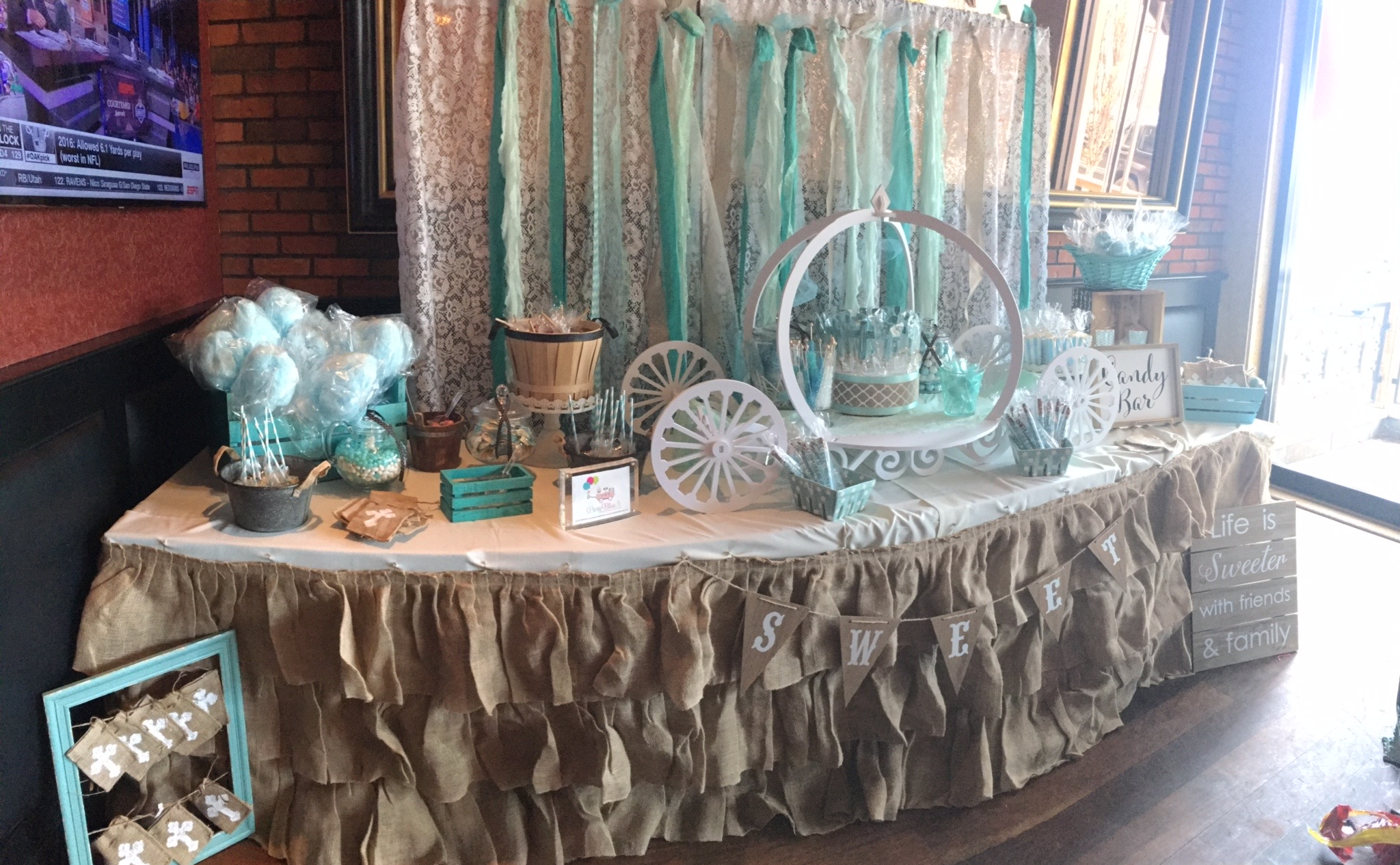 VINTAGE BURLAP CANDY TABLE