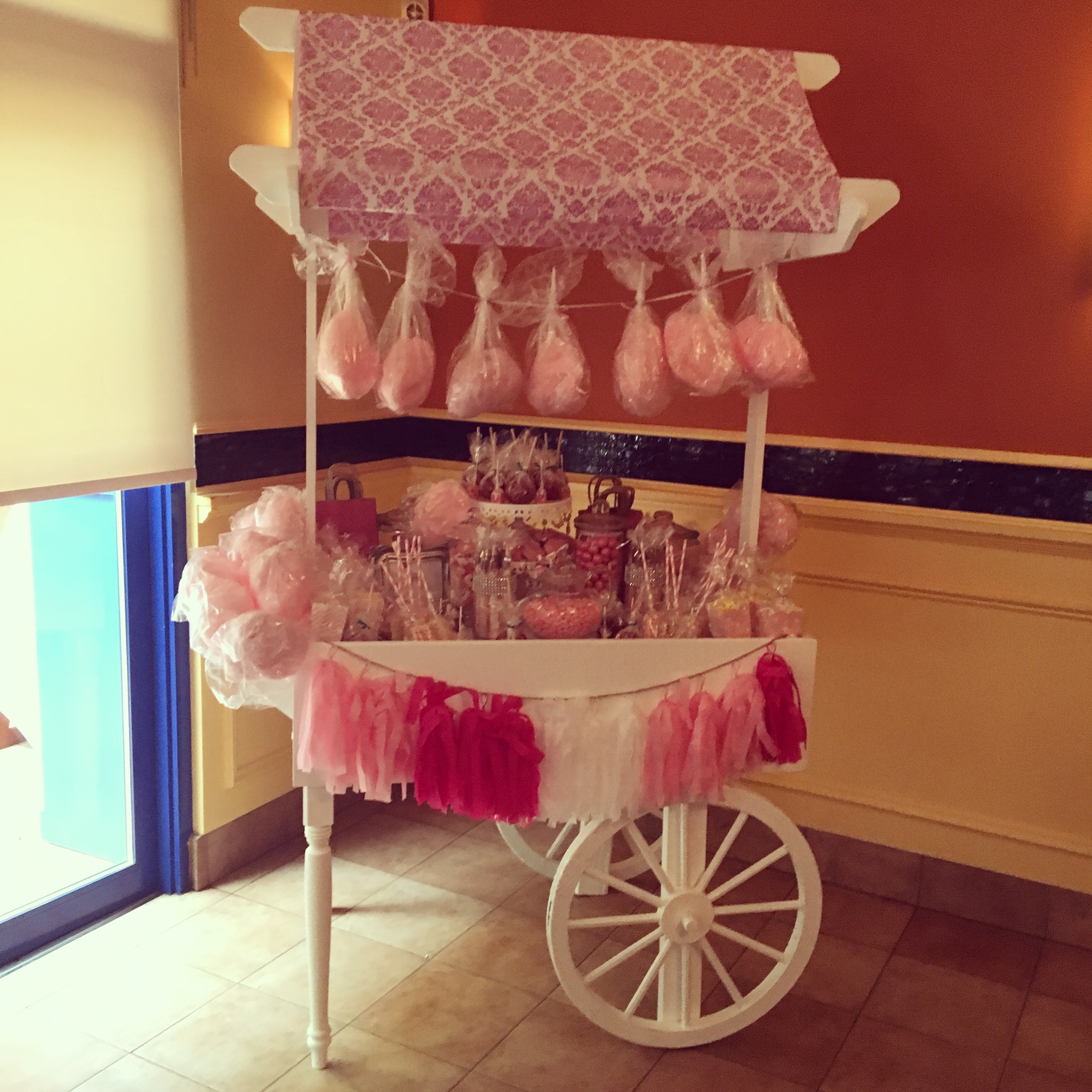 PINK DAMASK CANDY CART