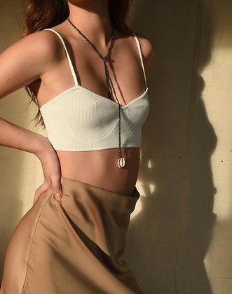 Cauri necklace wrap noir