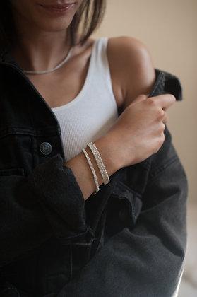 Bracelet tissé Second Skin S white porté
