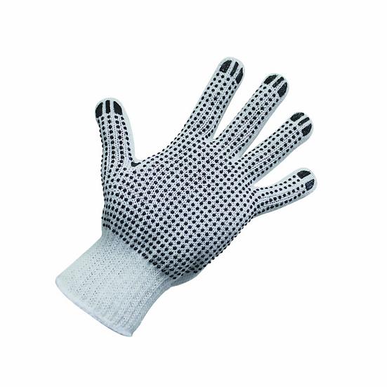 Polycotton Gloves with Black PVC Dots