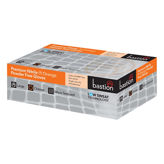 Bastion Premium Nitrile Gloves Orange