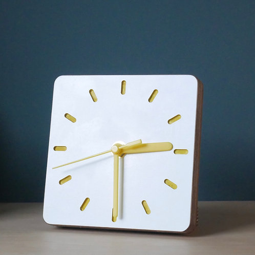 Klock scandi ply desk clock -Yellow