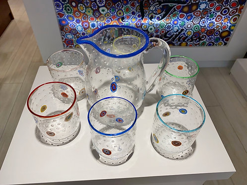 Mosaic Murano Glass tumblers with pitcher
