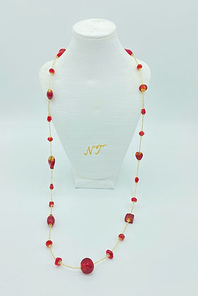 Long Sophie red necklace