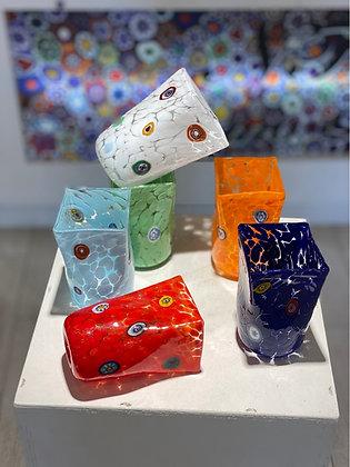 Bicchieri quadrati colorati set