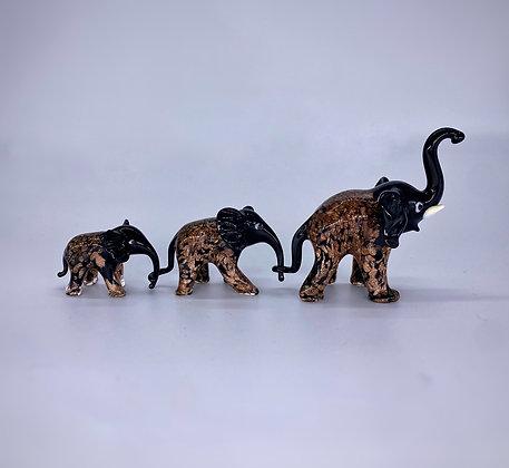 Tris black aventurine elephants