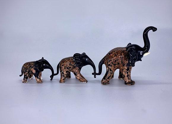 Tris elefanti nero  avventurina