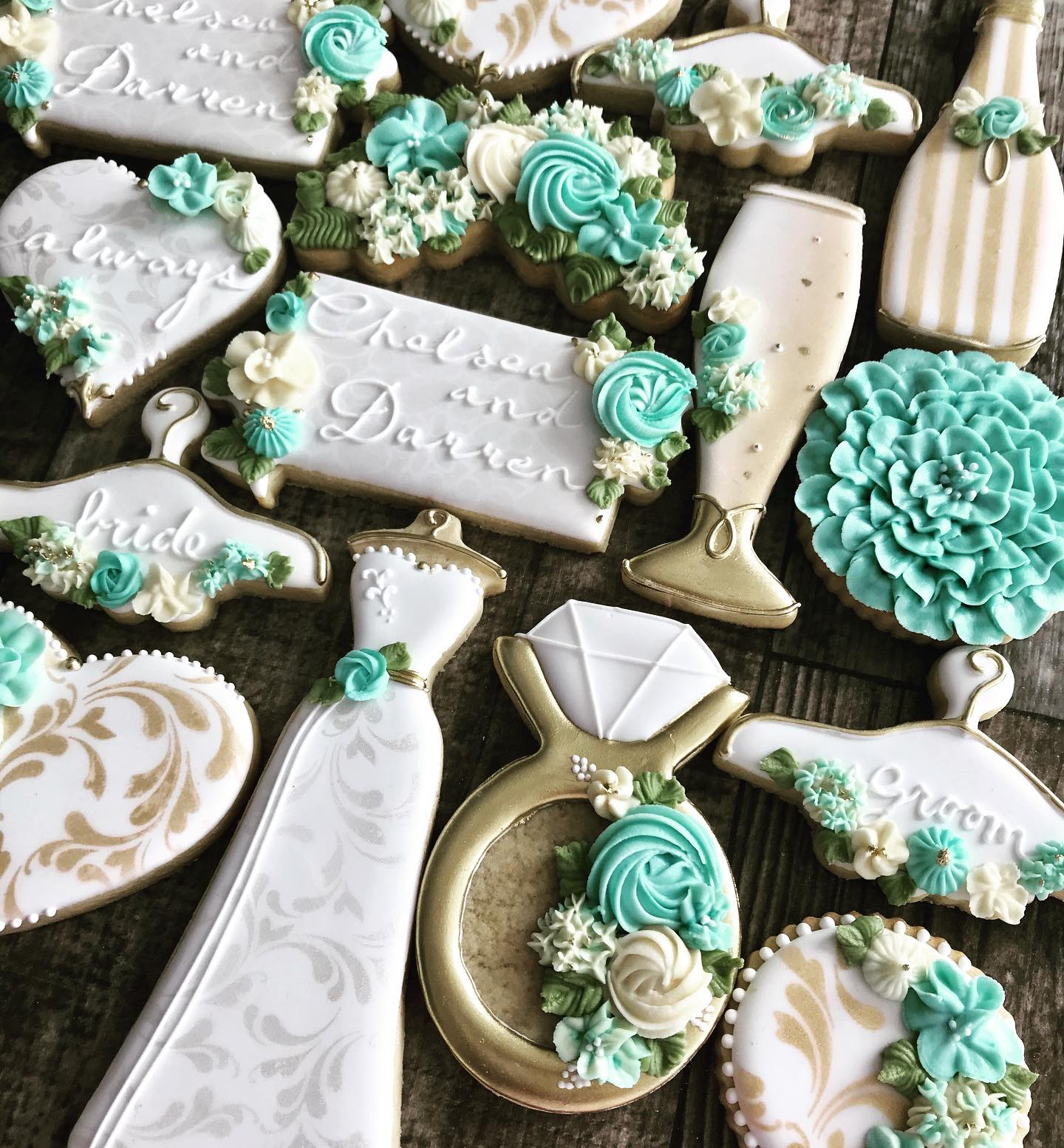 Bridal Floral Wedding Shower Decorated Cookies
