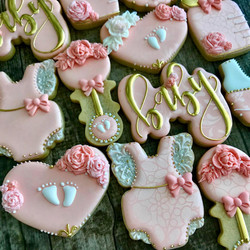 Baby Girl Shower Decorated Cookies