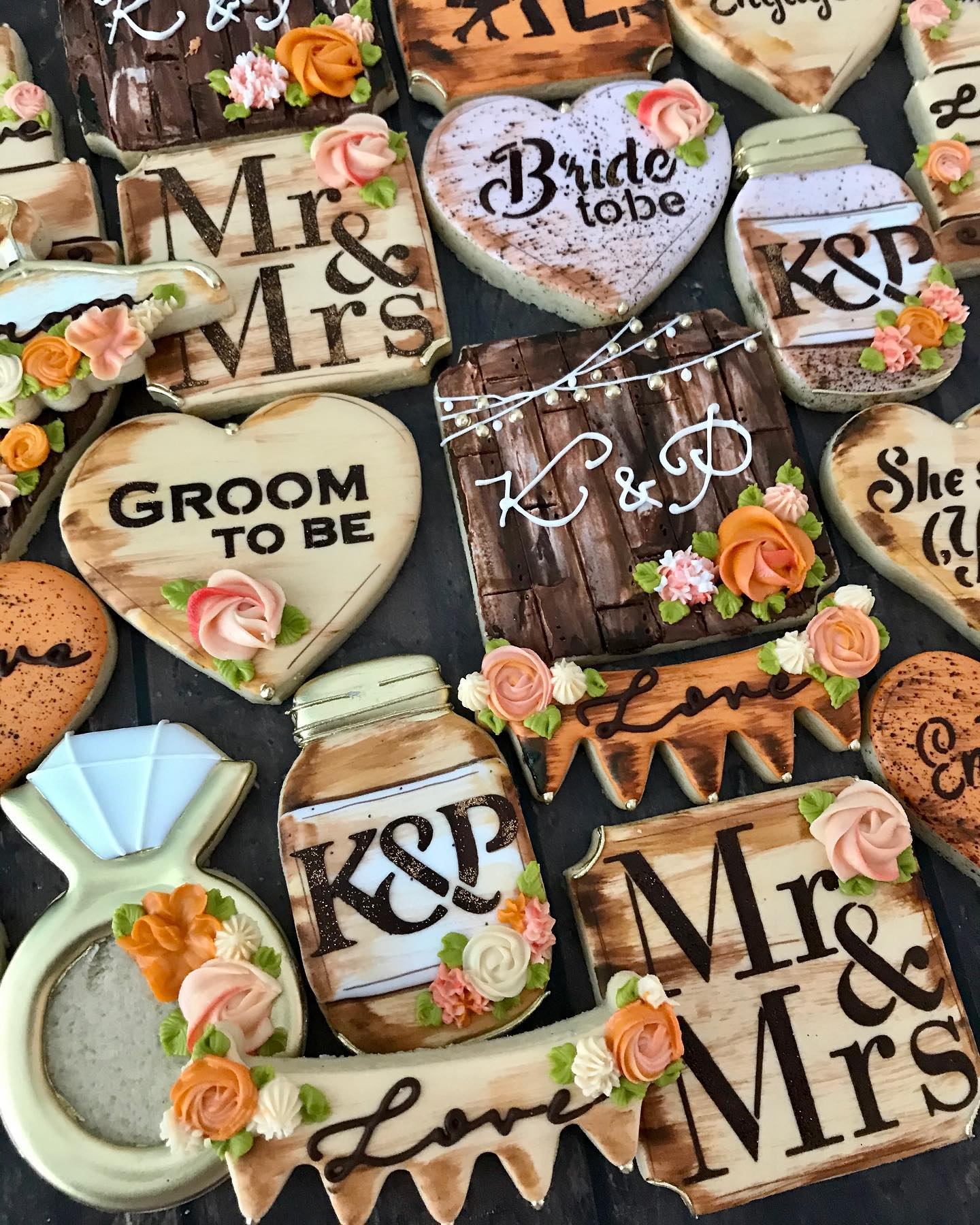 Rustic Wedding Decorated Cookies Montrea